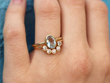 Load image into Gallery viewer, Aquamarine Ring with Diamond Curved Band, Anniversary Ring