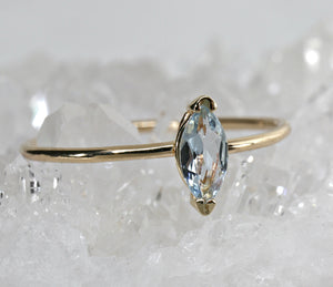Marquise Cut Aquamarine Engagement Ring, 14k Gold March Birthstone Ring