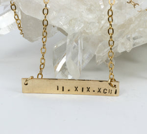 Personalized Gold Bar Necklace,  Gold Custom Name Necklace