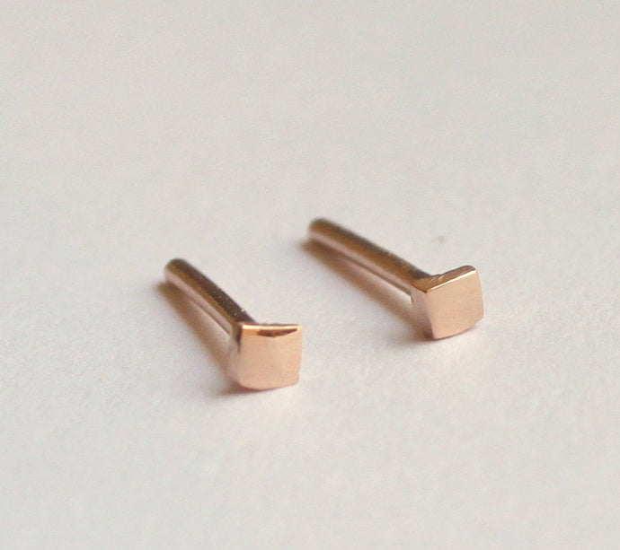 Square Gold Studs, 2mm Square Earrings