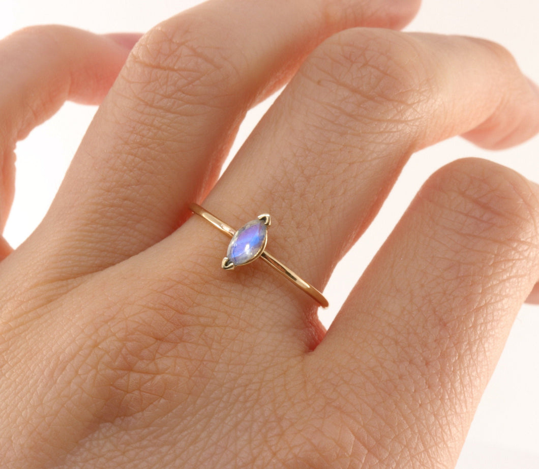 14k Gold Marquise Cut Moonstone Ring,  June Birthstone