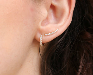 Diamond Hoops Huggie Earrings