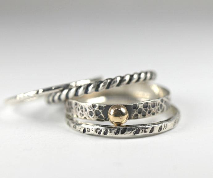 Stacking Ring Set: 14k Gold Ball Hammered Band