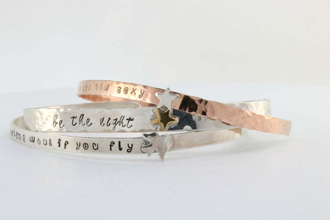 Inspirational Graduation Gift Cuff Bracelet,  Hand Stamped Stacking Cuff