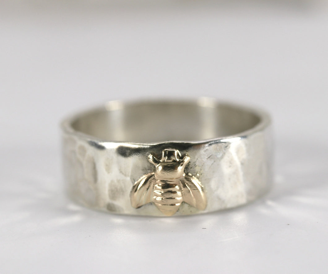 Honey Bee  Ring, Sterling Silver Hammered Band and Gold Bee Ring