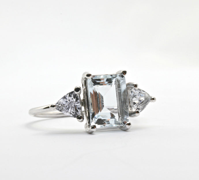 White Gold Aquamarine Ring, White Sapphire Ring