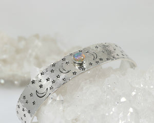 Moonstone Moon and Stars Hand Stamped Celestial Cuff Bracelet