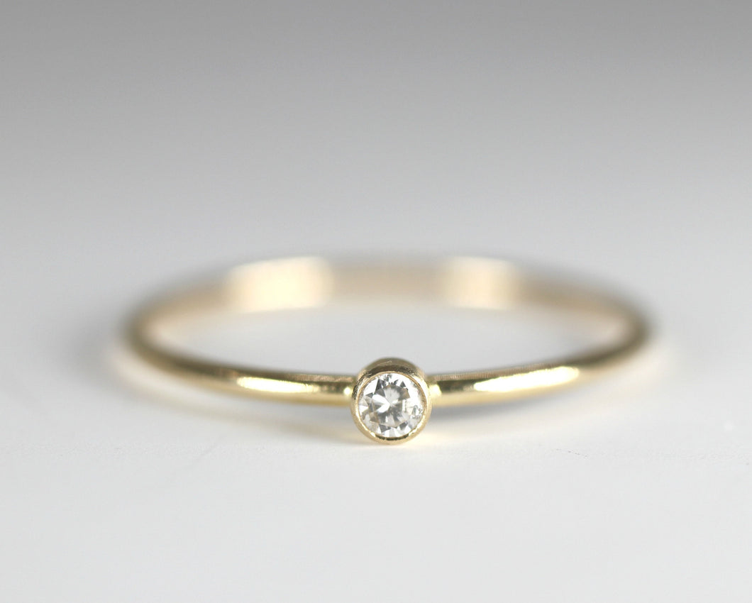 Dainty Tiny Diamond 14k Gold Ring, Solitaire Ring