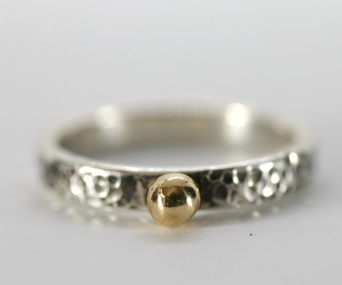 14k Gold Dot Stacking Gold Ball Ring