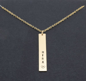 Vertical Bar Necklace, Personalized Initial Hand Stamped Gold Filled Bar Necklace