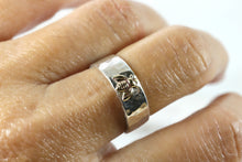 Load image into Gallery viewer, Honey Bee  Ring, Sterling Silver Hammered Band and Gold Bee Ring
