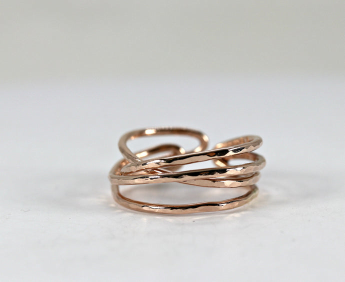 Wrap Around Ring, Hammered Open Ring