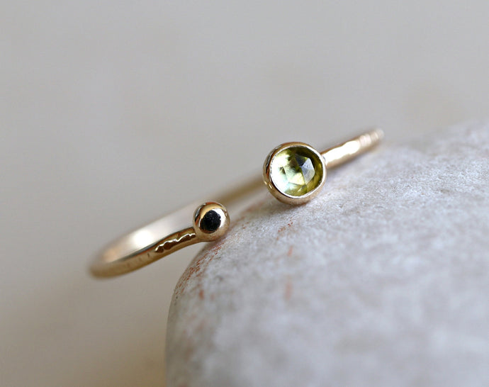 14k Gold Peridot Open Cuff Ring, August Birthstone Ring