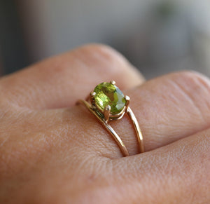 14k Gold Peridot Solitaire Ring