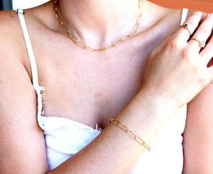 Gold Paper Clip Necklace
