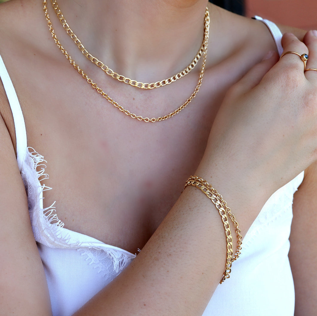 Gold Thick Curb Chain Bracelet