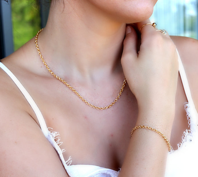 Gold Dainty Rolo Chain Bracelet,  Gold Filled Stacking Chain Bracelet