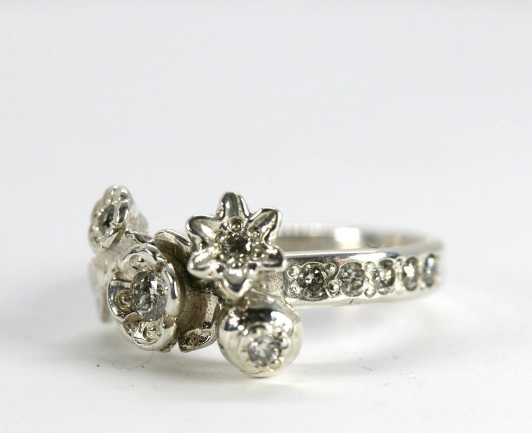 Sterling Silver Flower and Diamond Ring, Alternative Engagement Ring
