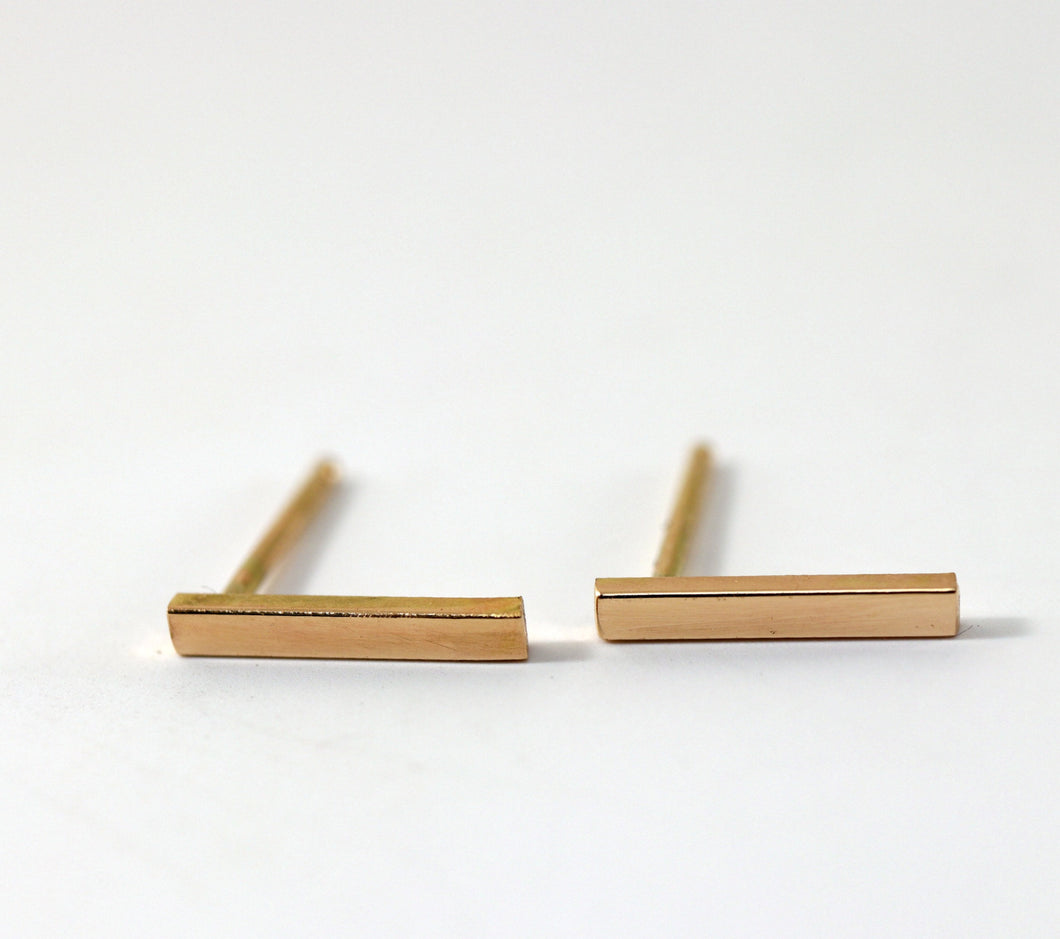 14k Solid Gold Bar Dainty Studs