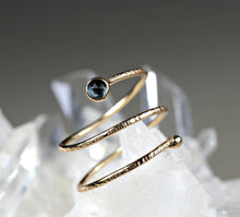 Load image into Gallery viewer, 14k Gold London Blue Topaz Wrap Around Ring