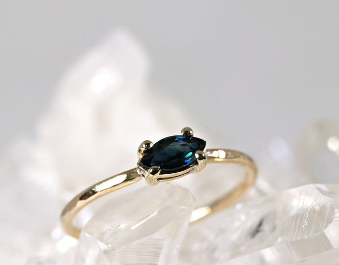 Marquise Cut Sapphire Engagement Ring, September Birthstone Ring