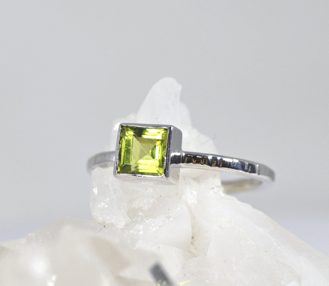 Princess Cut (Square) Peridot Ring, Sterling Silver, 14k White Gold Bezel Setting