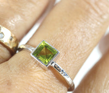 Load image into Gallery viewer, Princess Cut (Square) Peridot Ring, Sterling Silver, 14k White Gold Bezel Setting