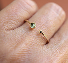 Load image into Gallery viewer, 14k Gold Peridot Open Cuff Ring, August Birthstone Ring