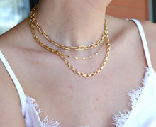 Load image into Gallery viewer, Gold Chunky Necklace, Link Thick Textured Chain Necklace, Gold Filled Chain
