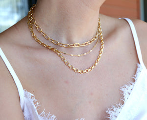 Gold Chunky Necklace, Link Thick Textured Chain Necklace, Gold Filled Chain