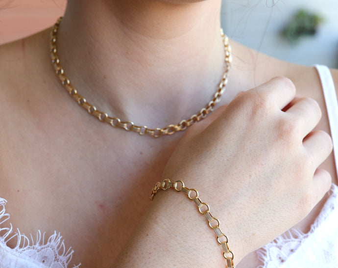 Gold Filled Chunky Thick Chain Bracelet