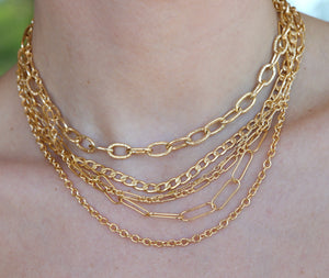Curb Gold Chain Necklace, Gold Layering Necklace