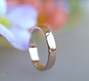 14k Rose Gold Band, 3mm Hammered Wedding Ring