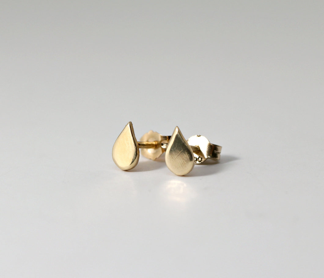 14k Gold Drop Dainty Studs