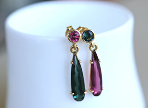 14k Gold Pink and Green Drop Tourmaline Earrings