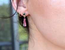 Load image into Gallery viewer, 14k Gold Pink and Green Drop Tourmaline Earrings