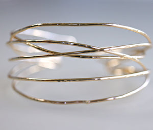 Wrap Cuff Bracelet, Hammered Gold Open Bangle