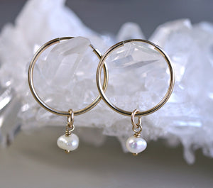 Pearl Hoop Earrings in Rose Gold or Yellow Gold, Bridal Earrings