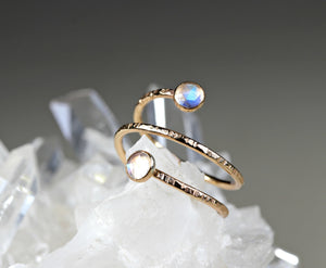 Rainbow Moonstone Spiral Ring in Gold Filled or Sterling Silver - Special Design