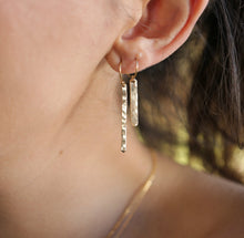 Load image into Gallery viewer, Skinny Hammered Gold Bar Earrings