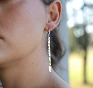 Long Hammered Silver Bar Earrings