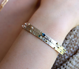 London Blue Topaz Or Green Sapphire Hammered Cuff Bracelet