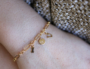 Dainty Gold Initials and Heart Chain Bracelet