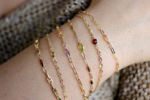Gold Delicate Chain Birthstone Stacking Bracelet