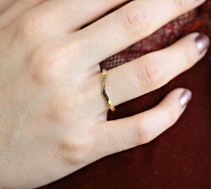 14k Solid Gold Chevron Wedding Band, Gold V Ring