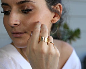Gold Filled Wide Hammered Ring