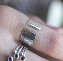 Load image into Gallery viewer, Sterling Silver Wide Hammered Band, Personalized Open Cuff Ring