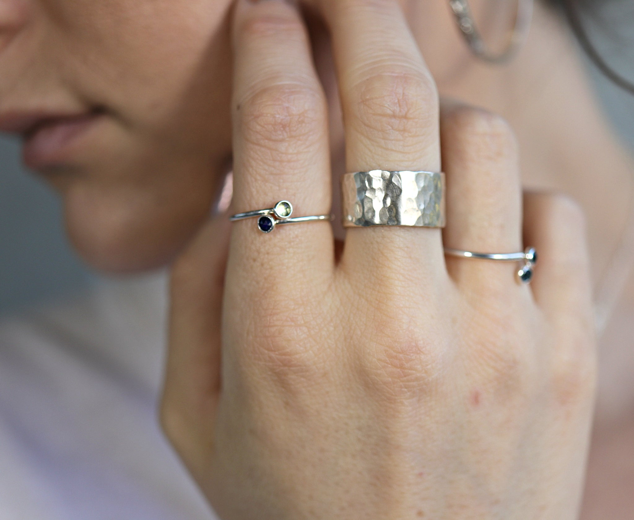 Personalized Wide Hammered Ring