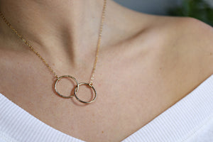 Interlocking Circle Necklace, Gold Double Circle Necklace