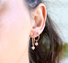 Load image into Gallery viewer, Pearl Hoop Earrings, Rose Gold Bridal Jewelry, Gold Filled Hoops